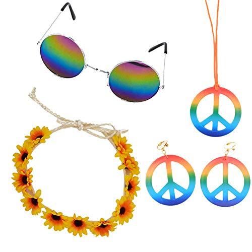 TODAYTOP 4er-Set Hippie-Anziehzubehör für Damen Herren Sonnenbrillen Anhänger Ohrringe Regenbogen-Kapuze Hippie-Kostüm 60er oder 70er Jahre Dekorationsset für Halloween-Sommerpartys (Herren 70er Jahre Kostüm Schmuck)