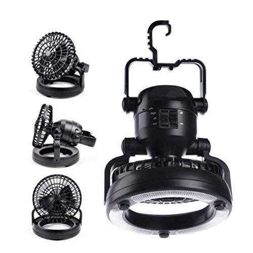 RUNACC Campinglampe mit Ventilator Campinglüfter mit Hängehaken Außenzeltleuchte, 18 LEDs Perfekt für Camping und Reisen, batteriebetrieben