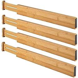 Tiroir Séparateur, 4Pcs Chambre Gratuit Séparation Cloison Board Bambou Réglable Cuisine Rétractable Extensible Rangement Organisation Bureau Maison Bricolage Polyvalent