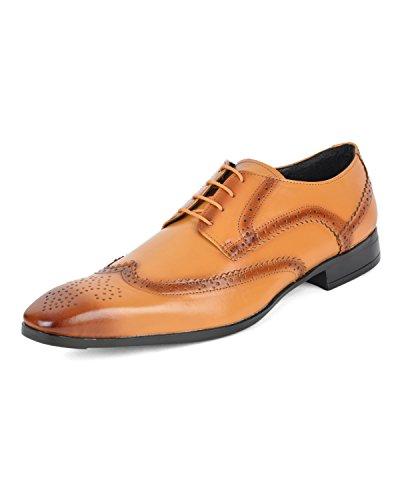 Ziraffe BORIS Genuine Leather Camel Men's Brogue Formal Shoes (9 UK)