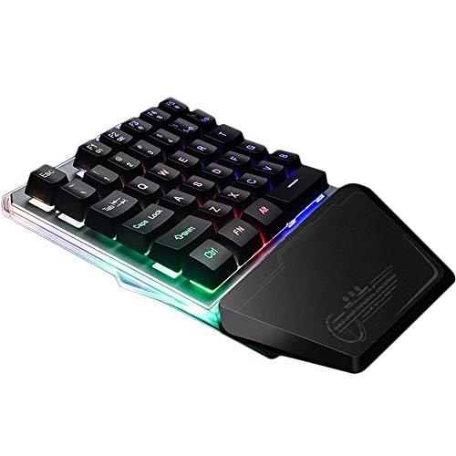 YuYi Tastatur Gaming One Hand USB Kabelgebunden Mechanische FÜHlen AusfÜHrung Plug and Play RGB Hintergrundbeleuchtung 35 Tasten Wrist Rest Windows/Vista/7/8 Schwarz - Vista Usb-tastatur