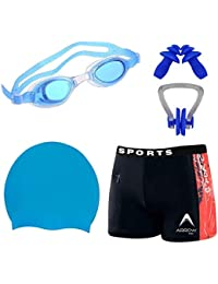 414d52d52162 Golden Girl Swimming Kit Silicon Cap, Ear Plug, Nose Clip, Goggles with Men