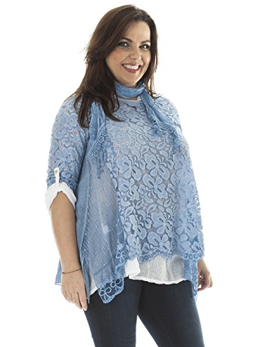 Love My Fashions Damen Tunika Lamarmshirt weiß weiß denim-blau
