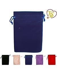 TtS Pack of 50 (Velvet Bags-Navy Blue) Velvet Pouches Wedding Bags Drawstring Jewelry Gift Packaging - 5x7cm