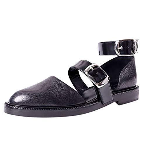 Vintage Damen Flache Sandalen Damen Pumps PU Leder Runde Kappe Mode Mary Jane Schnalle Knöchelriemen Oxfords Kleid Schuhe