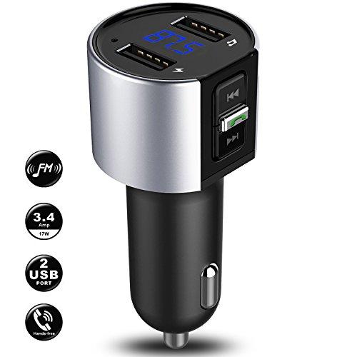 Bluetooth FM Transmitter, KFZ FM Transmitter Auto Radio AUX Adapter Freisprecheinrichtung mit 2 USB Port Ladegerät, MP3 Player Audio Stereo System, qc3.0 Hände frei Calling Kit mit Spannung Bewegungserkennung/TF Card Slot (Starten Sie Auto-remote)