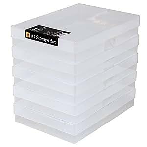 En Plastique Transparent A4 Loisirs créatifs Boîtes De Rangement, Pack of 5