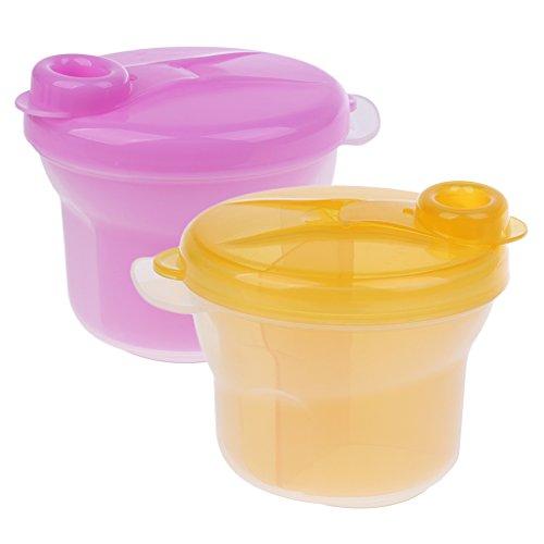 Gazechimp 2 Stück Snack-Portionierer Milchpulverportionierer Baby Schälchen mit Deckel Aufbewahrungsbox - Gelb und Rose, 2 Stück