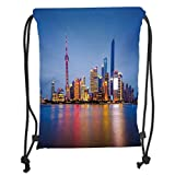 Drawstring Backpacks Bags,Urban,City Skyline of Shanghai China on Huangpu River Dusk Famous Travel Destination,Blue Pink Yellow Soft Satin,5 Liter Capacity,Adjustable String Closur