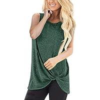 beautyjourney Chaleco Suelto de Mujer Camiseta sin Mangas de Color sólido sin Mangas Blusa Casual de la Camiseta del Deporte Camisa de Playa Tops