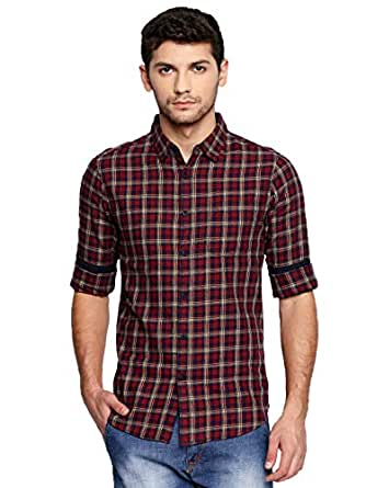 Dennis Lingo Men's Checkered Slim fit Casual Shirt (C424_RED_S