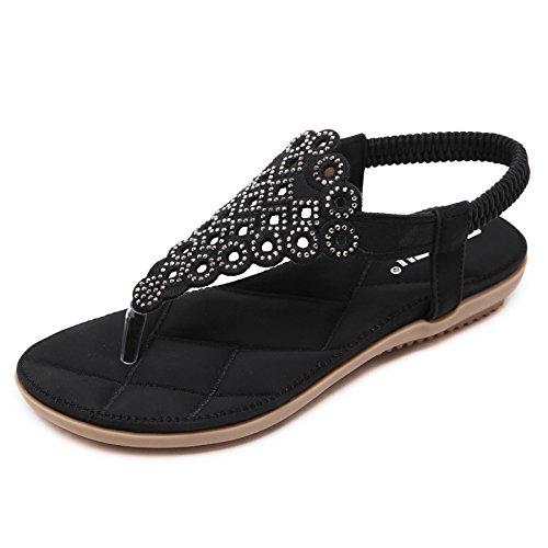 Caretto donna estate boemia punta della clip sandali strass perline piatti scarpe piatto infradito pantofole spiaggia