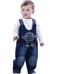 Pantalones Vaquero De Peto Para Bebé Niños Niñas Azul Largo Con Patrón De Mono Lindo Tirantes
