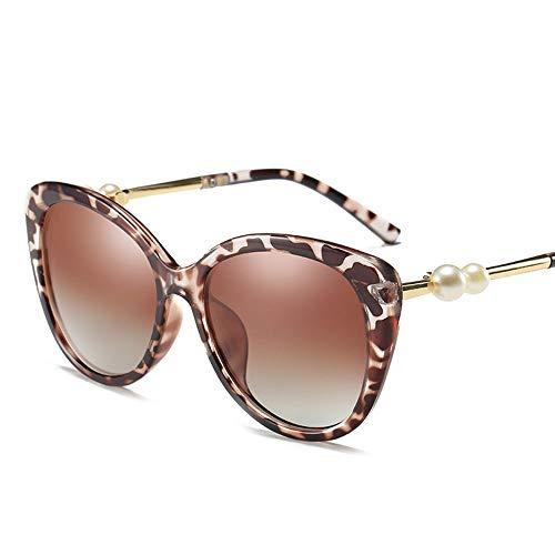 WULE-RYP Polarisierte Sonnenbrille mit UV-Schutz Damenmode Cat Eye polarisierte Sonnenbrille Superleichtes Rahmen-Fischen, das Golf fährt (Farbe : Leopard)