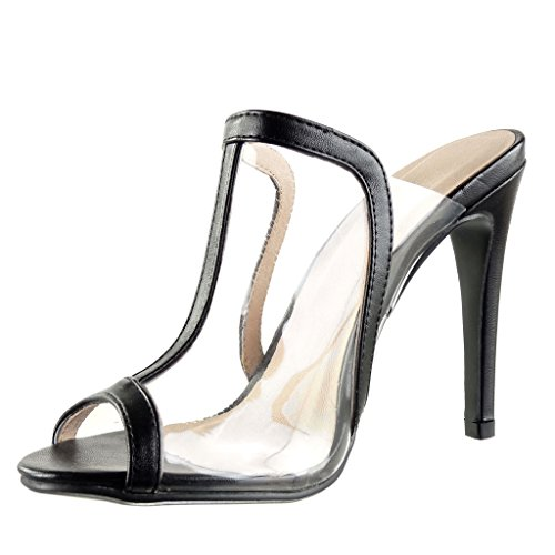 Angkorly Damen Schuhe Sandalen Pumpe - T-Spange - Stiletto - Sexy - Transparent Stiletto High Heel 11.5 cm Schwarz