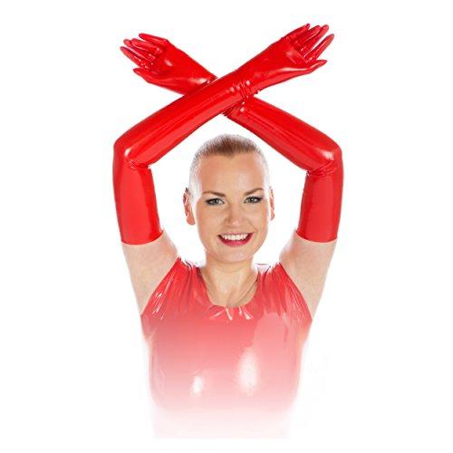 Rubberfashion sehr lange Latex Handschuhe extra dick Latexhandschuhe bis zum Oberarm mit veredelter Oberfläche für Frauen und Herren Menge: 1 Paar rot M (Sexy Latex-handschuhe)