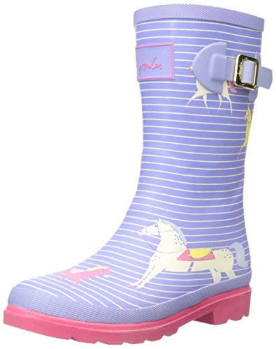 Joules  Printed Welly, Bottes Fille Violet - Purple (Lavender Horses)