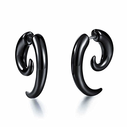 Yellow Chimes Curved Horn Bone Stainless Steel Black Studs for Men and Boys