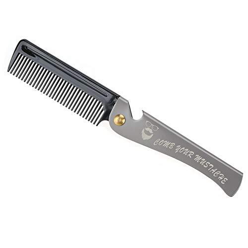 Bartkamm, Herren Friseurwerkzeug Falttasche Schnurrbartformkamm mit Edelstahlgriff zum Glätten und Ölen des Schnurrbartes(2#)