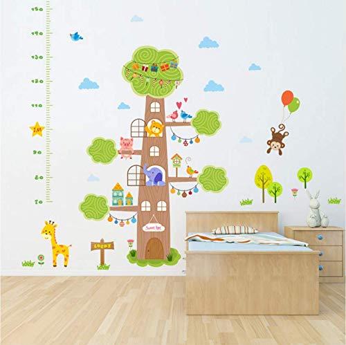 Hbbhbb Forest Animals Sweet Home House Tree Giraffe Monkey Height Measure Growth Chart Wall Sticker Kids Nursery Bedroom Decor Decal 135X90Cm - Chart House-tv