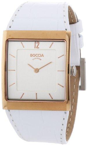 Boccia B3143-02 - Reloj de mujer de cuarzo, correa de piel color blanco