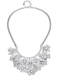 Front Row collar mujer color de plata abanico con diseño floral con cadena tipo serpiente - longitud 46-48cm