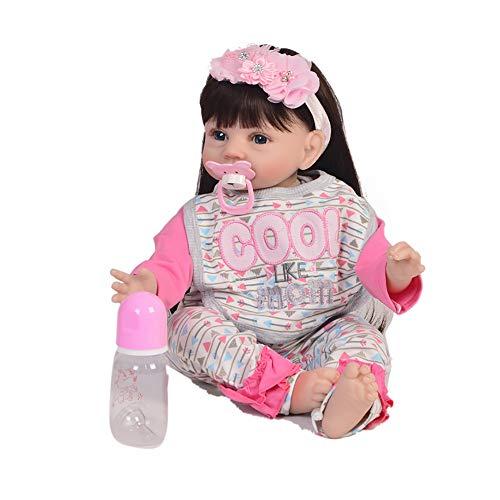 BABYY Süße Sammlung Wiedergeborene Babypuppen 22 Zoll / 55 cm Mädchen Wiedergeborenes Baby Wunderschönen Lange Haare Prinzessin Echt Gewichtet Wiedergeborene Puppe Interaktives