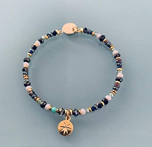 Perline e brace ventoso rosa, braccialetto donna gourmet pietre naturali magiche e perline Heishi placcate in oro 24k