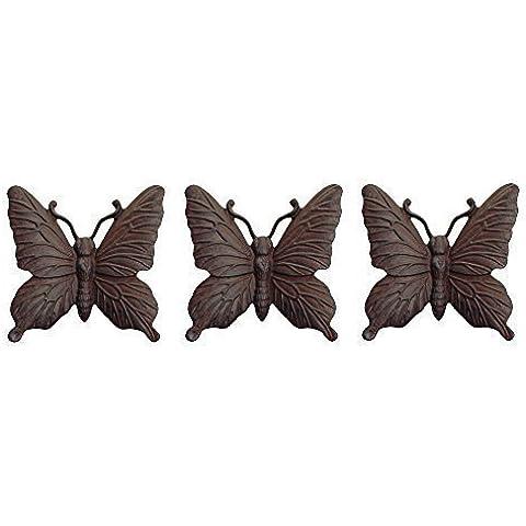 Hierro fundido acabado Vintage 3 adorno de jardín de mariposa se puede montar en pared