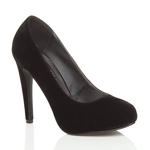 Chaussures plate-formes cachées pour femmes haut talon fête prom taille Daim noir