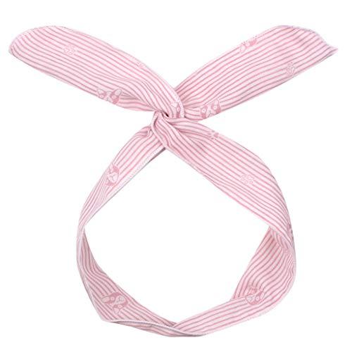 QIMANZI Stirnband Damen Draht Gerade Haare entfernen Band Gerade Bär Drucken Stirnband Glattes Haar Band mit Bär Gerade Streifen drucken(Rosa) - Vier-draht-unterstützung