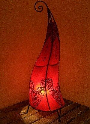 Orientalische Stehlampe Arif Rot 70cm Lederlampe Hennalampe Lampe | Marokkanische Große Stehlampen aus Metall, Lampenschirm aus Leder | Orientalische Dekoration aus Marokko, Farbe Rot