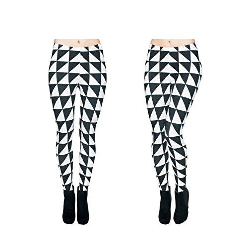 Hanessa Frauen Leggins Schwarz Weiß Bedruckte Leggings Hose Frühling Sommer Kleidung Triangle Karo L4