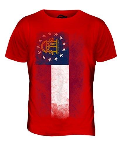 CandyMix Bundesstaat Georgia Verblichen Flagge Herren T Shirt Rot