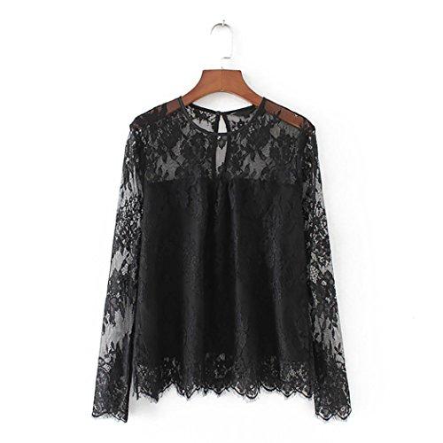 DEELIN Camisa De Encaje Transparente Transparente Vintage De Mujer Camisa De Cuello Alto De Manga Larga para Mujer (L, Negro)