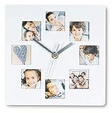 Wanduhr Weiß 21x21cm Fotouhr 8 Fotos Bilder Bilderrahmen Fotorahmen Küchenuhr Collage Galerie Wanddeko