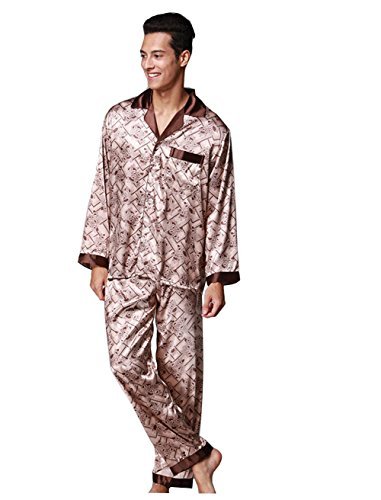 Logeliy Herren Seide Schlafanzug-Sets Lange Ärmel Hose Zweiteiliger Anzug Nachtwäsche Einfach Freizeit Freizeitkleidung Knopf + V-Ausschnitt Design Satin Nachthemd , as picture , XXL (Ein-knopf-satin-anzug)