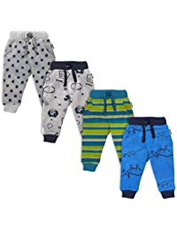NammaBaby Baby Pajama Print Hem Full Length Lounge Pants Cotton Thick Pants with Pocket - Set of 4