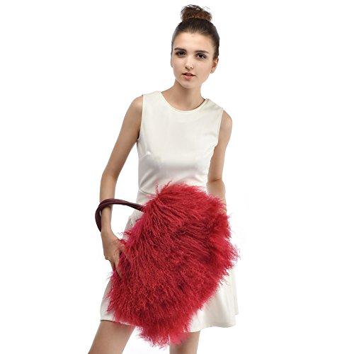 Handtasche aus Fell - Damen Mode Winter Umhängetasche aus Pelz HoBo Bag Rot