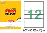 #10: A4 Size Paper Labels For Laser, Inkjet & Copiers (12 Label Sheet)(Pack of 50 Sheets)
