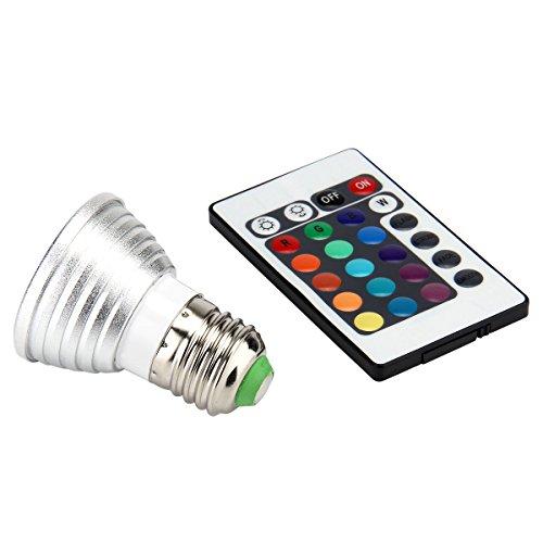 Amazon.es - E27 85V-265V 3W Multi-color RGB LED Light Lamp Bulb with IR Remote Controller