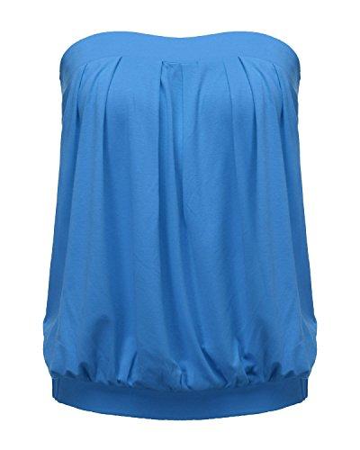 ZANZEA Damen Schulterfrei Ärmellos Tops Rückenfrei Oberteile Rüschen Strand Weste Blau EU 36/US 4 - Blaue Rüschen Shirt