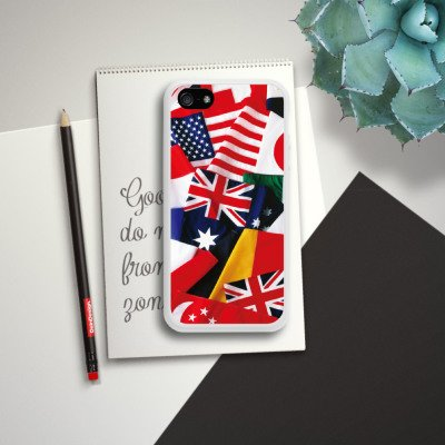 Apple iPhone 5 Housse étui coque protection Drapeaux Drapeaux Nations Housse en silicone blanc