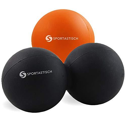 """Sportastisch ? Massageball Set """"Deep Relax"""" mit Lacrosse ball, Duoball und Poster (weich - mittel, für Faszien an Fuß, Rücken und Hand) 3 Jahre Garantie"""