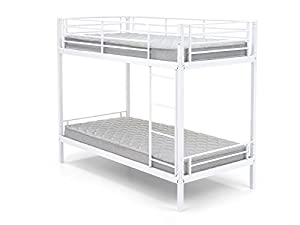 Snuggle Beds Harley White 3FT Single Metal Bunk Bed Frame
