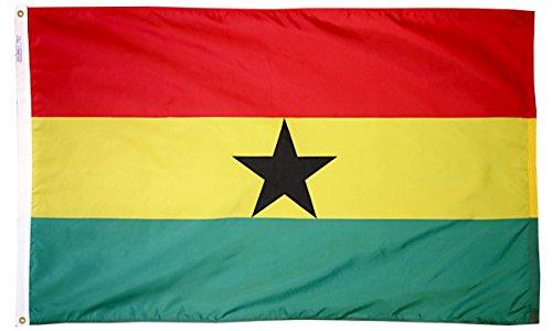 Ghana Flagge 3x 5ft. Nylon solarguard nyl-glo 100% Made in USA zu offiziellen Vereinten Nationen Design Spezifikationen von Annin flagmakers. Modell 192966 -