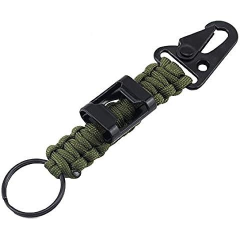 ZENDY Paracord portachiavi corda moschettone con attrezzi apribottiglie di sopravvivenza per l'esterno (alta qualità 7 Strand) (Verde militare)