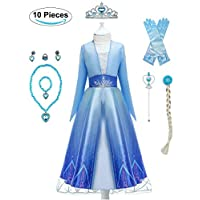 Yalla Baby Girls Dress Costume for Kids Girls Princess Dress Up 90-150CM Birthday Party Cosplay Outfits w/Tiara, Wand, Faux White Hair etc. (120, Elsa Snow Queen Dress + 8pcs Accessory Set)