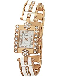 Howdy White Analog Dial Crystal Studded Stainless Steel Chain Women Watch (howdy-ss1074)