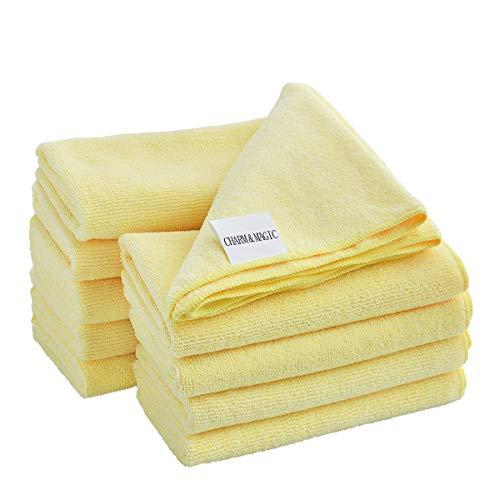 CHARM & MAGIC Gelb Premium Mikrofaser Reinigungstücher für Küche Glas Haushalt Büro 40 x 40CM 10 Stück